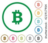 set of bitcoin sign color round ...