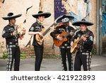 mexican musicians mariachi on...   Shutterstock . vector #421922893