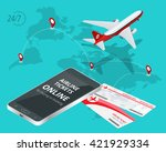 buying or booking airline... | Shutterstock . vector #421929334