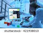young medical technicians... | Shutterstock . vector #421938013