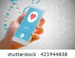 hand holding smartphone against ... | Shutterstock . vector #421944838