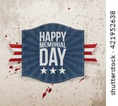 happy memorial day paper banner ... | Shutterstock .eps vector #421952638