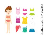 girl in bikini and clothes set... | Shutterstock .eps vector #421957336