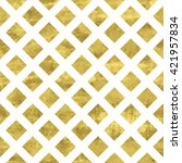 gold and white seamless pattern.... | Shutterstock .eps vector #421957834