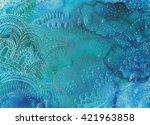 floral watercolor zentangle... | Shutterstock . vector #421963858