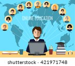 tutor and his online education... | Shutterstock .eps vector #421971748