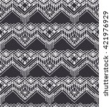 isolated crocheted lace border... | Shutterstock .eps vector #421976929