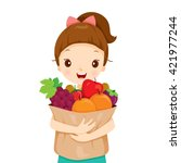 girl holding bag full of fruits ... | Shutterstock .eps vector #421977244