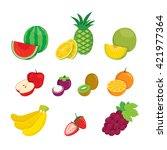fruits icons set  tropical ... | Shutterstock .eps vector #421977364