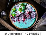 blue spirulina smoothie on... | Shutterstock . vector #421980814