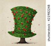 fantasy green hat in the shape... | Shutterstock . vector #421982248