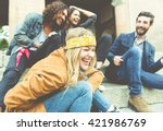 group of four friends laughing... | Shutterstock . vector #421986769