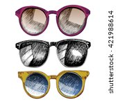 vector set of sunglasses.... | Shutterstock .eps vector #421988614