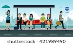 employees and people were... | Shutterstock .eps vector #421989490
