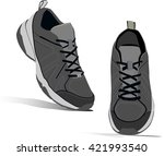 sneakers pair. realistic shoes. ... | Shutterstock .eps vector #421993540