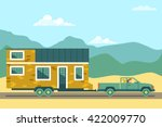 tiny house movement. owners of... | Shutterstock .eps vector #422009770