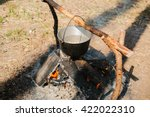 the fire near the camp. cooking ... | Shutterstock . vector #422022310