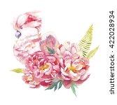 watercolor peony bouquet with... | Shutterstock . vector #422028934