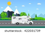 Family traveler truck driving on the road. Outdoor journey camping traveling vacation concept poster card. RV caravan motorhome van on countryside background landscape. Flat vector illustration.  - stock vector