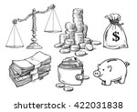 finance  money set. scales ... | Shutterstock .eps vector #422031838