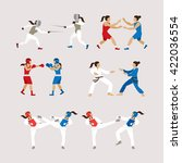 fighting sports athletes  women ... | Shutterstock .eps vector #422036554