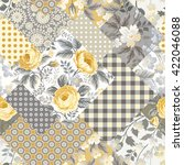 Stock vector seamless patchwork floral pattern with yellow roses 422046088