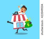 cartoon businessman and... | Shutterstock .eps vector #422049034