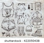 fashion vector hand drawn a... | Shutterstock .eps vector #422050438