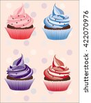 colorful cupcakes with cream | Shutterstock .eps vector #422070976