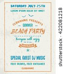 beach party flyer or poster.... | Shutterstock .eps vector #422081218