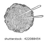 chinese noodles and chopsticks  ... | Shutterstock .eps vector #422088454
