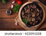 fried chicken liver with onions ... | Shutterstock . vector #422091028