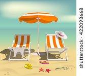 summer. recliners and beach... | Shutterstock .eps vector #422093668