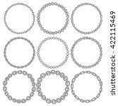 set of 9 decorative circle... | Shutterstock .eps vector #422115469