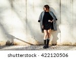 elegant young girl wearing in a ... | Shutterstock . vector #422120506