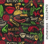 seamless pattern mexican food... | Shutterstock . vector #422129470