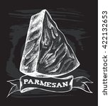 parmesan cheese. hand drawn... | Shutterstock .eps vector #422132653