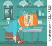 man sleeping in bar.    Shutterstock .eps vector #422147320