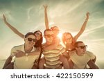 friends fun on the beach under... | Shutterstock . vector #422150599