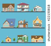 colorful flat residential houses | Shutterstock .eps vector #422150818
