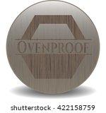 ovenproof wooden emblem. retro