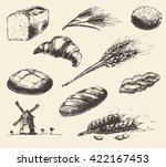 set of fresh bread. hand drawn... | Shutterstock .eps vector #422167453