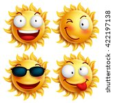 set of sun character with funny ... | Shutterstock .eps vector #422197138