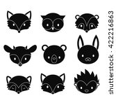 Stock vector set of cartoon woodland animals heads vector silhouettes isolated on white background 422216863