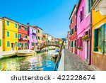 colorful houses in burano... | Shutterstock . vector #422228674