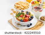 breakfast with fruit salad and... | Shutterstock . vector #422245510
