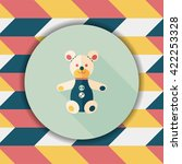 teddy bear flat icon with long... | Shutterstock .eps vector #422253328