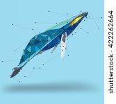 whale geometric low polygon   Shutterstock .eps vector #422262664