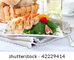 delicious grilled shrimp salad - stock photo