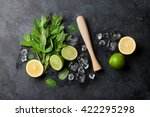 mojito cocktail making. mint ... | Shutterstock . vector #422295298